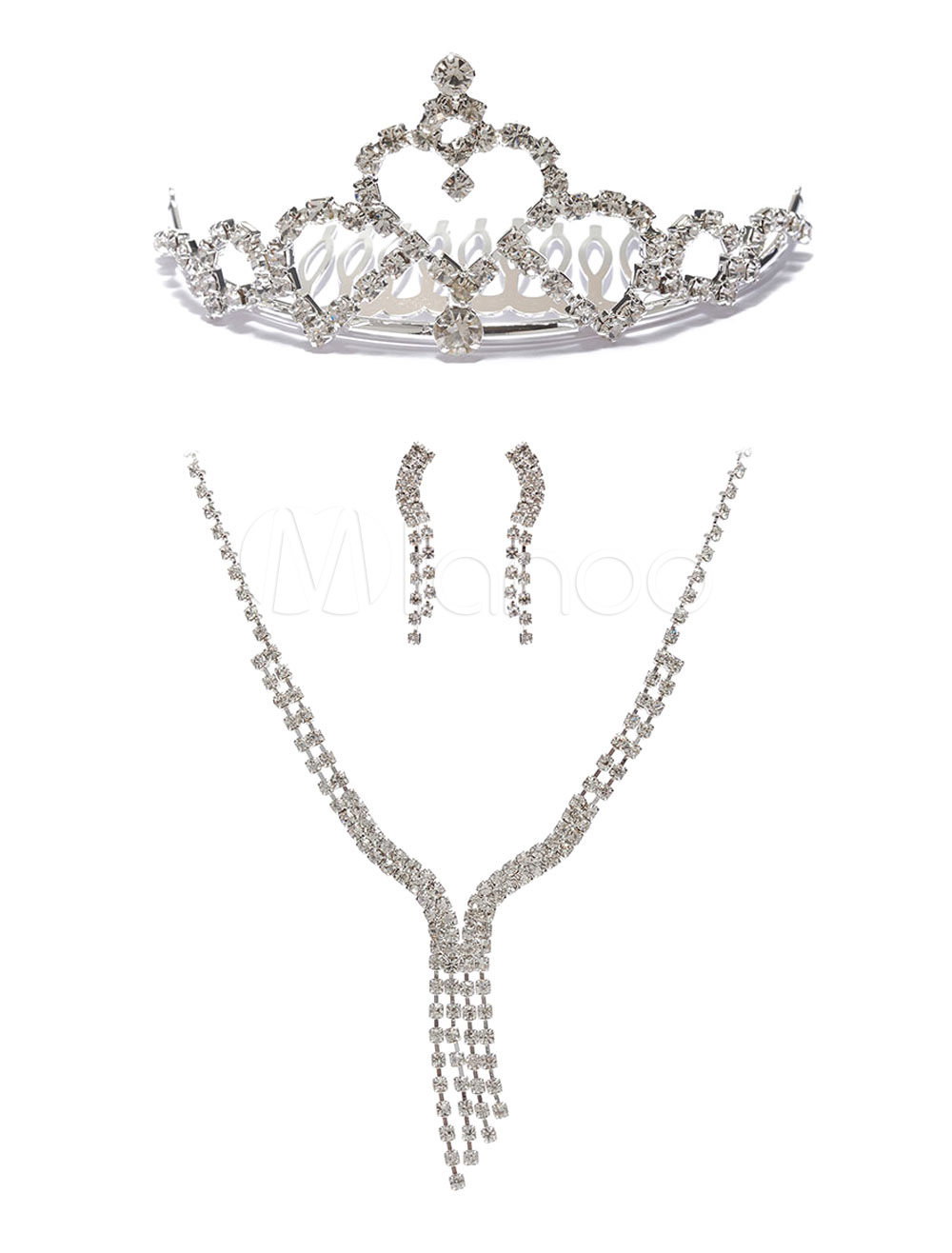 Wedding Necklace Sets Rhinestones Pierced Earrings Tiara Silver Bridal Jewelry Set