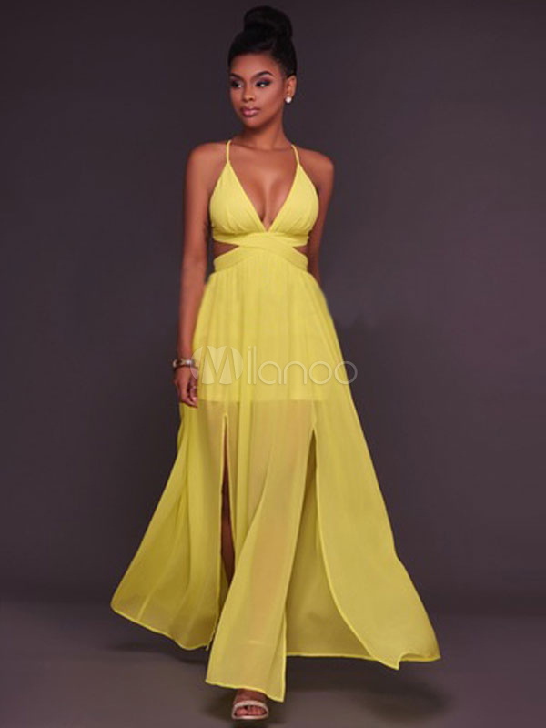 Buy Sexy Maxi Dress Yellow Chiffon Dress Women Plunging Split Backless Slip Dress for $27.99 in Milanoo store