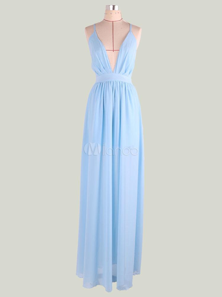 934d82dbc28 ... Robe longue bleu ciel clair en chiffon unicolore au dos décolleté fendu  effet décolleté -No