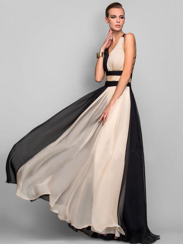 9c258c5448ae ... Vestito da festa Maxi 2019 Abito formale donna bicolore in chiffon con  taglio incrociato sul retro ...