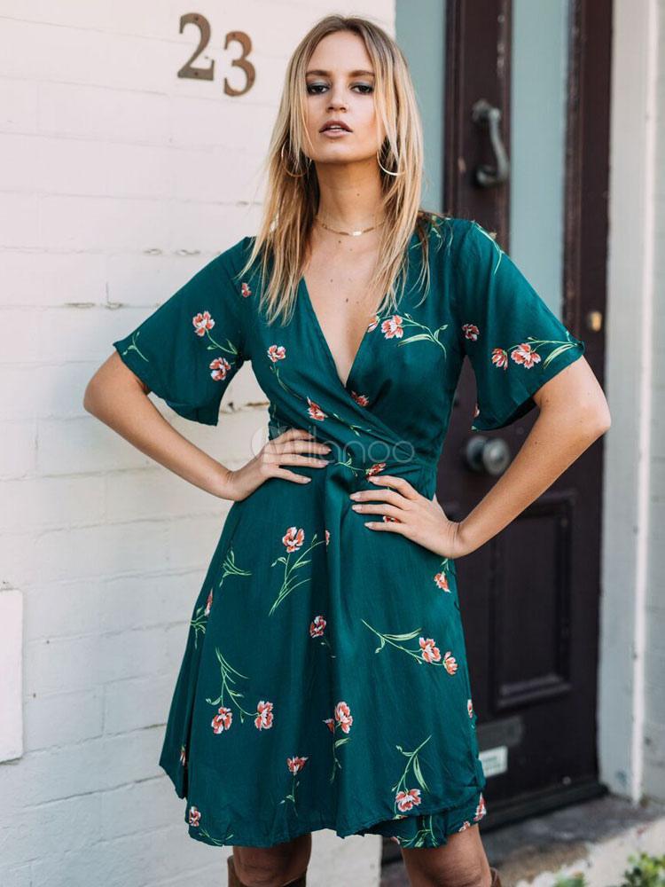 Floral Wrap Dress Boho Women Short Dress V Neck Short Sleeve Summer Dress March 2018. New collection, free shipping.