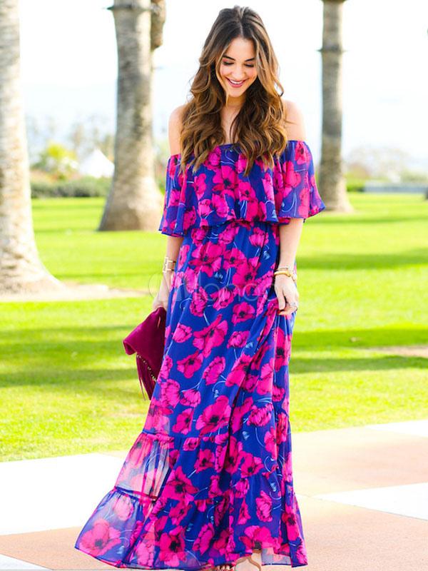 7846b9c5fb54 Floral Maxi Dress Boho Off Shoulder Chiffon Summer Dress For Women-No.1 ...