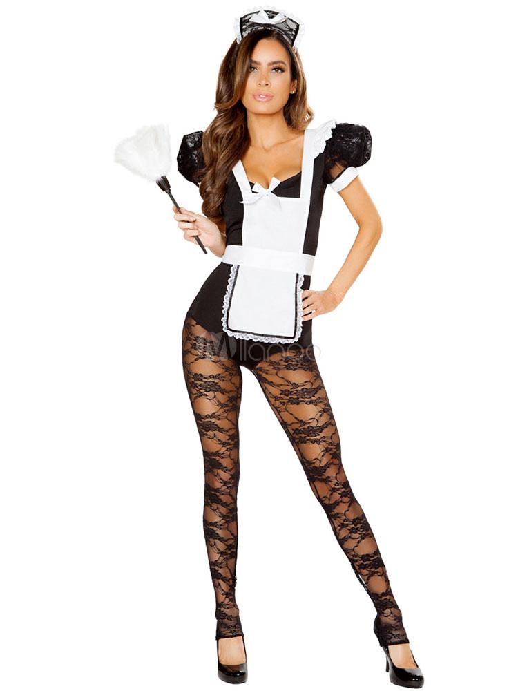 Sexy Maid Costume Black Lace Ruffles Puff Sleeve Women 5 Piece Lingerie