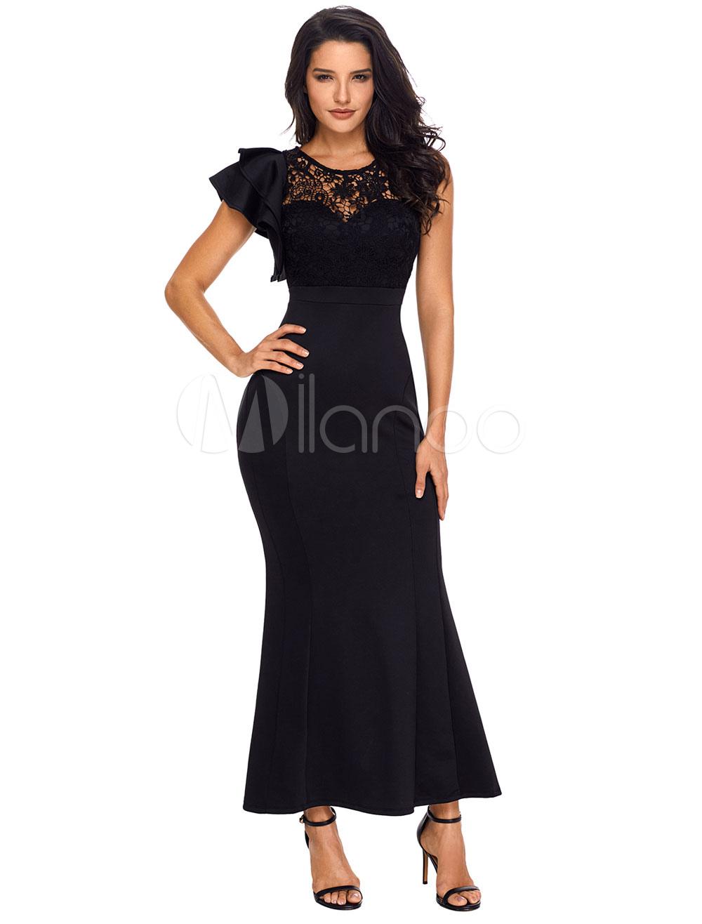 Buy Long Bodycon Dress Black Party Dress Lace Asymmetrical Ruffles Maxi Dress For Women for $28.04 in Milanoo store