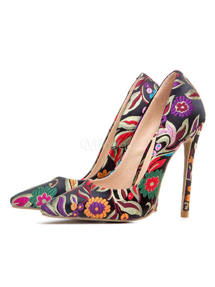 Buy Women High Heels Satin Pointed Toe Floral Printed Heels Black Slip On Pumps for $58.49 in Milanoo store