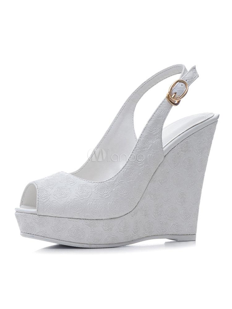 Zapatos de punter Peep Toe de tacón de cuña elegantes para boda WwGVhqk