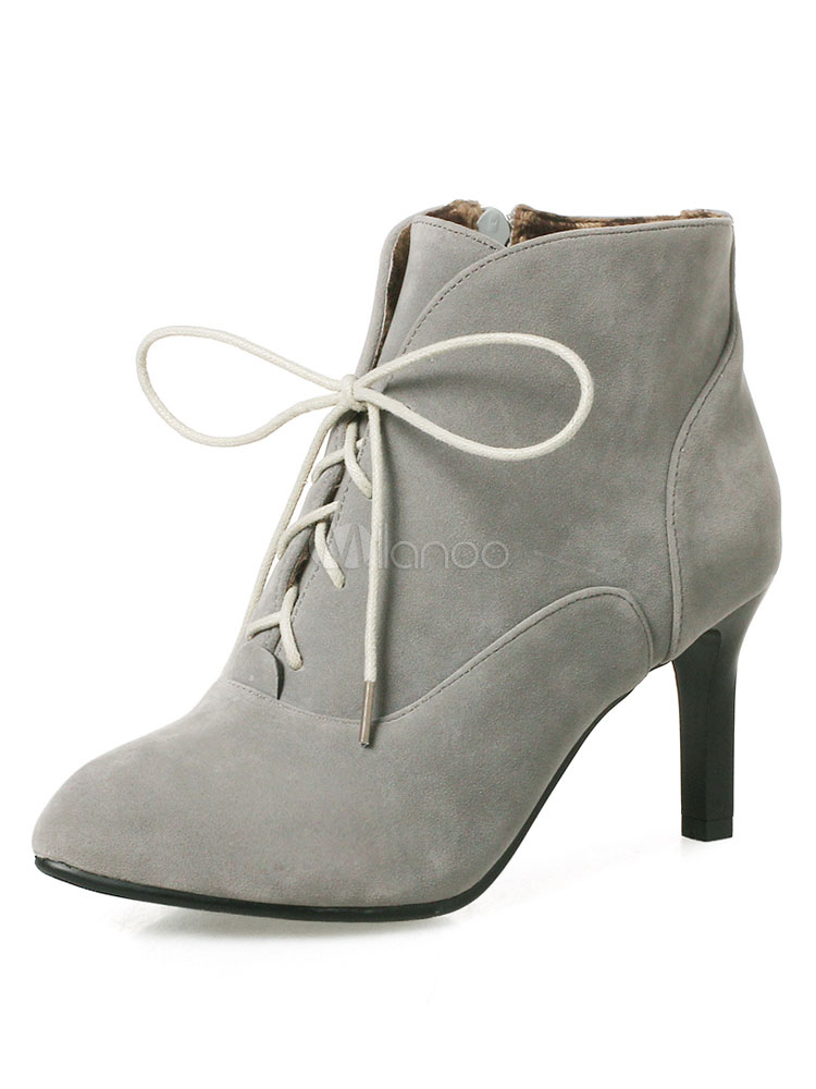 Buy Lace Up Booties Women Suede Boots Grey Pointed Toe Kitten Heel Ankle Boots for $40.49 in Milanoo store