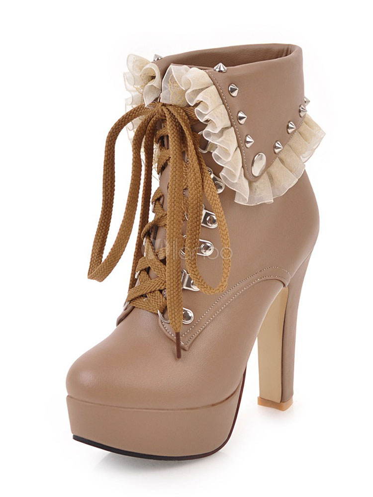 Buy High Heel Booties Women Ankle Boots Apricot Round Toe Platform Lace Up Booties for $49.49 in Milanoo store