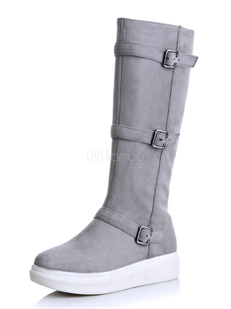 Grey Suede Boots Women Boots Round Toe Buckle Detail Mid Calf Boots