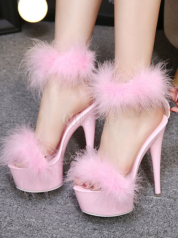 Pink Sexy Shoes High Heel Sandals Open Toe Platform Fur
