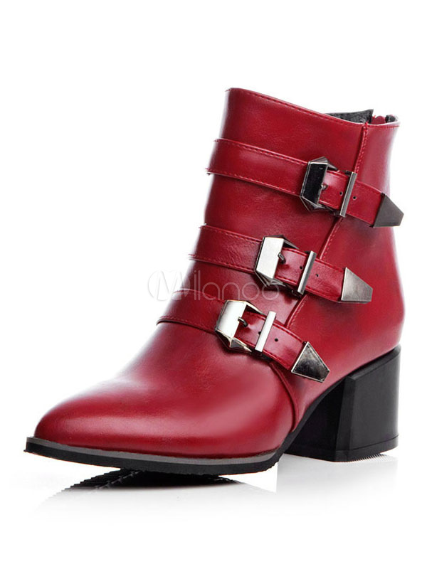 Red Ankle Boots Women Biker Boots Pointed Toe Buckle Detail Booties