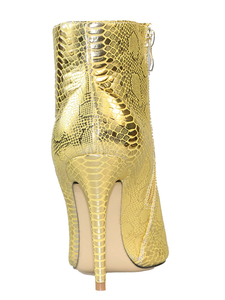 Women Ankle Boots Gold High Heel Booties Pointed Toe Snake