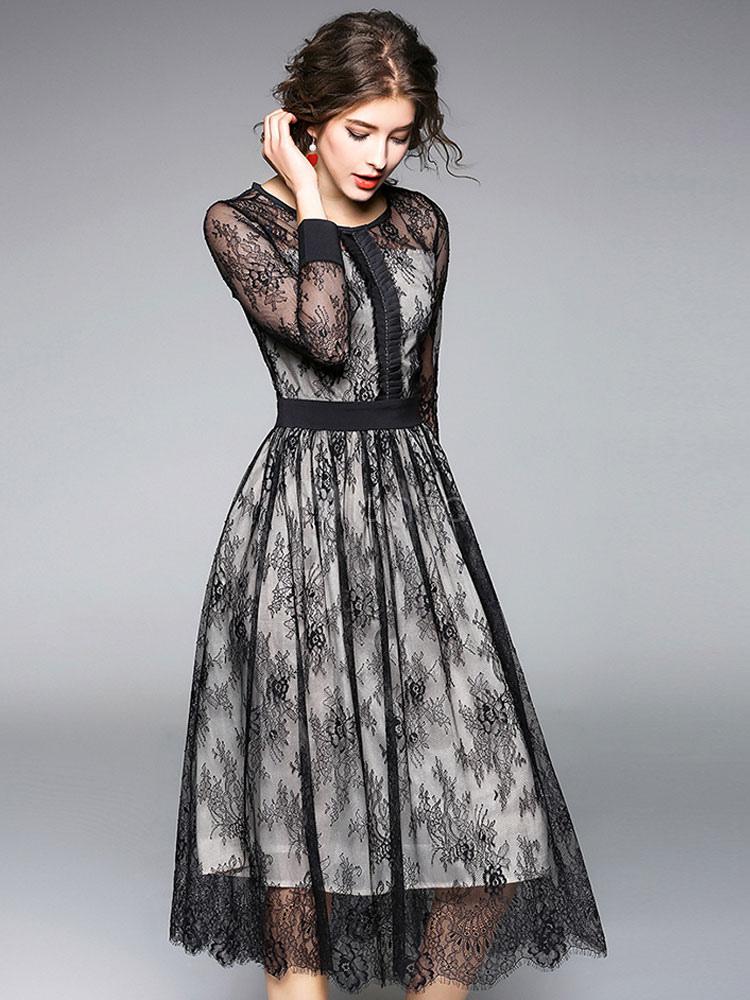 ... Black Lace Dress Women Skater Dress Round Neck Long Sleeve Slim Fit  Flare Dress-No ... 97059126c