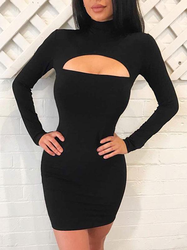 Vestido negro ajustado corto manga larga