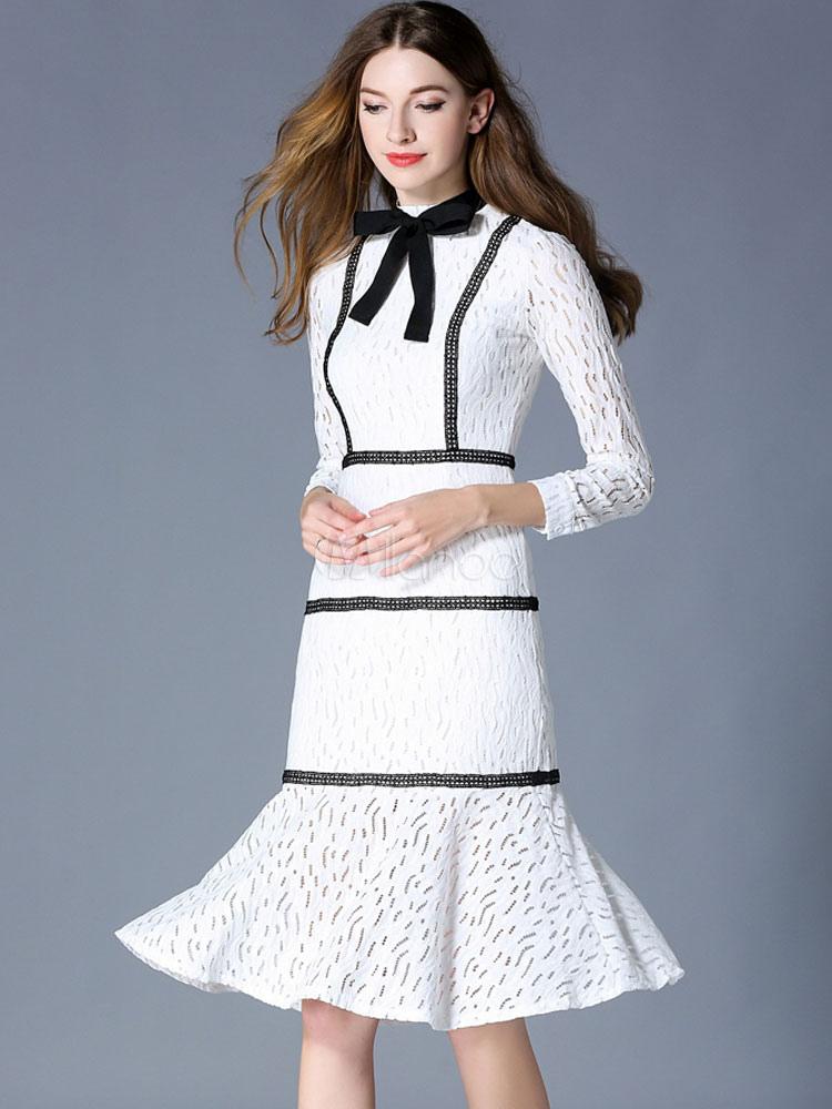 b37c5bb27bf Robe de dentelle moulante manches 3 4 blanche printemps Sweete street style  -No.