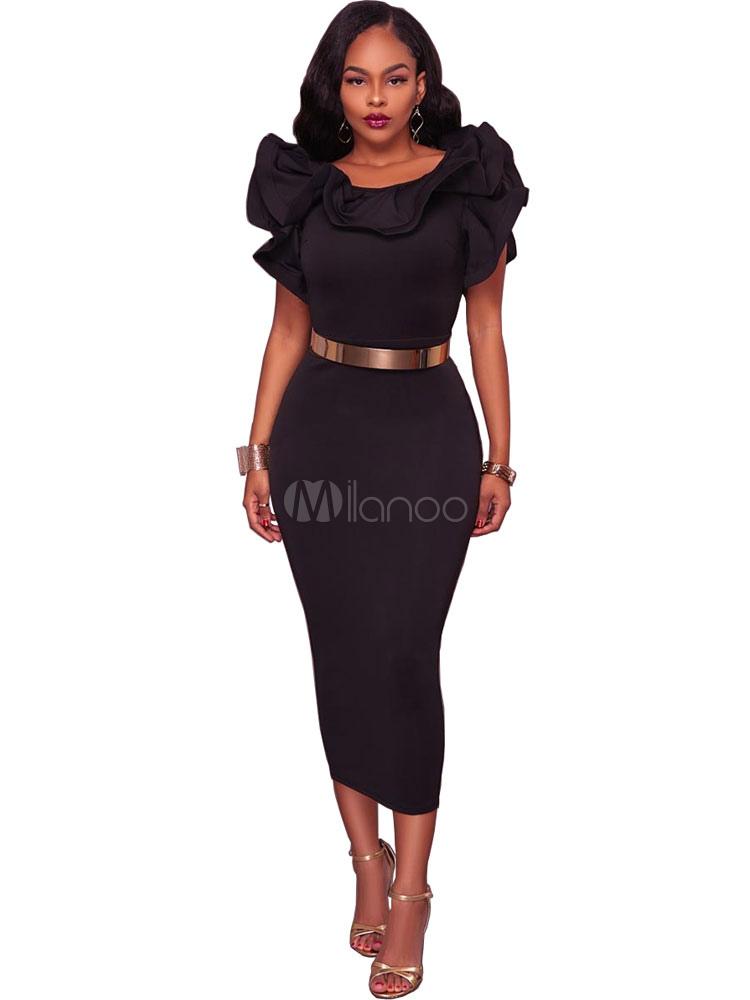 Long Bodycon Dress Black Women Ruffles Slit Sexy Party Dress