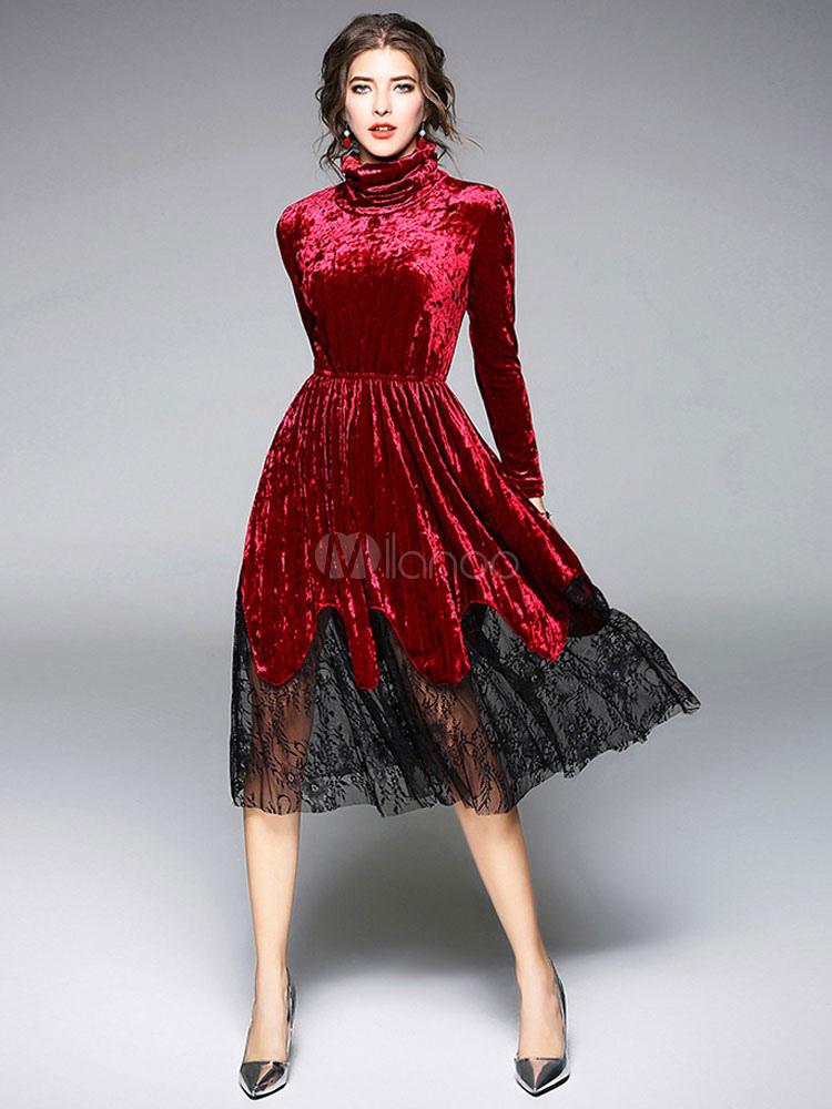 premium selection 28e5d f7f67 Vestito Velluto vintage donna Autunno Grigio argento velo con collo alto  maniche lunghe a pieghe con pizzo casuale modellante