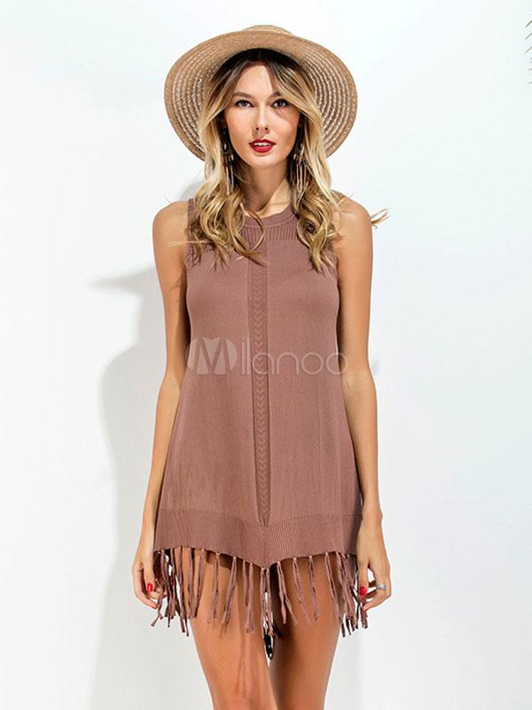 Women Mini Dresses Fringe Round Neck Sleeveless Brown Short Dress