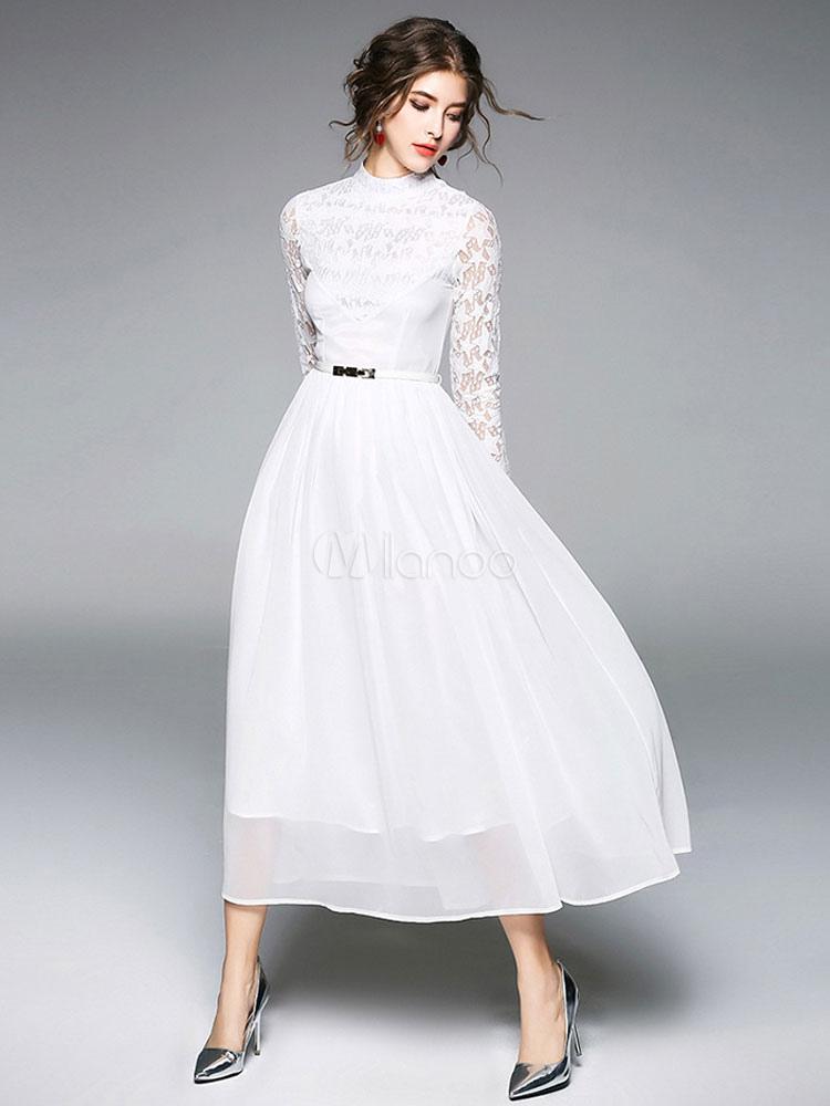 727d6dca7 ... فستان طويل أبيض الشيفون الدانتيل الوهم طويلة الأكمام المرأة فستان ماكسي-No.3  ...