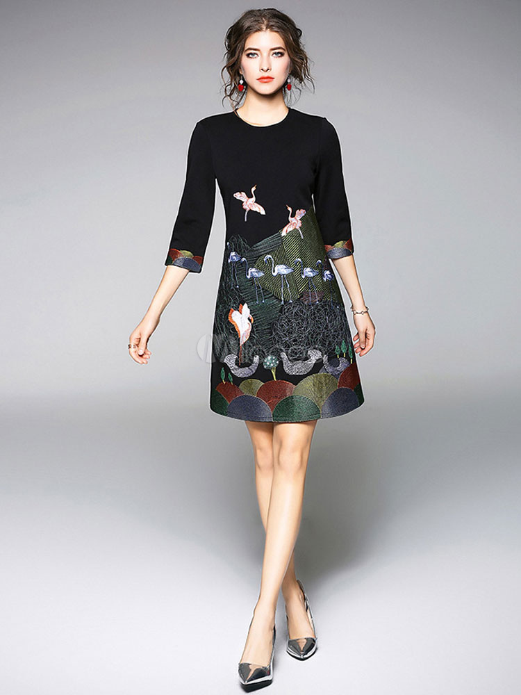 180082ad1b079 Black Shift Dress Round Neck Long Sleeve Animal Embroidered Mini Dresses  For Women-No.