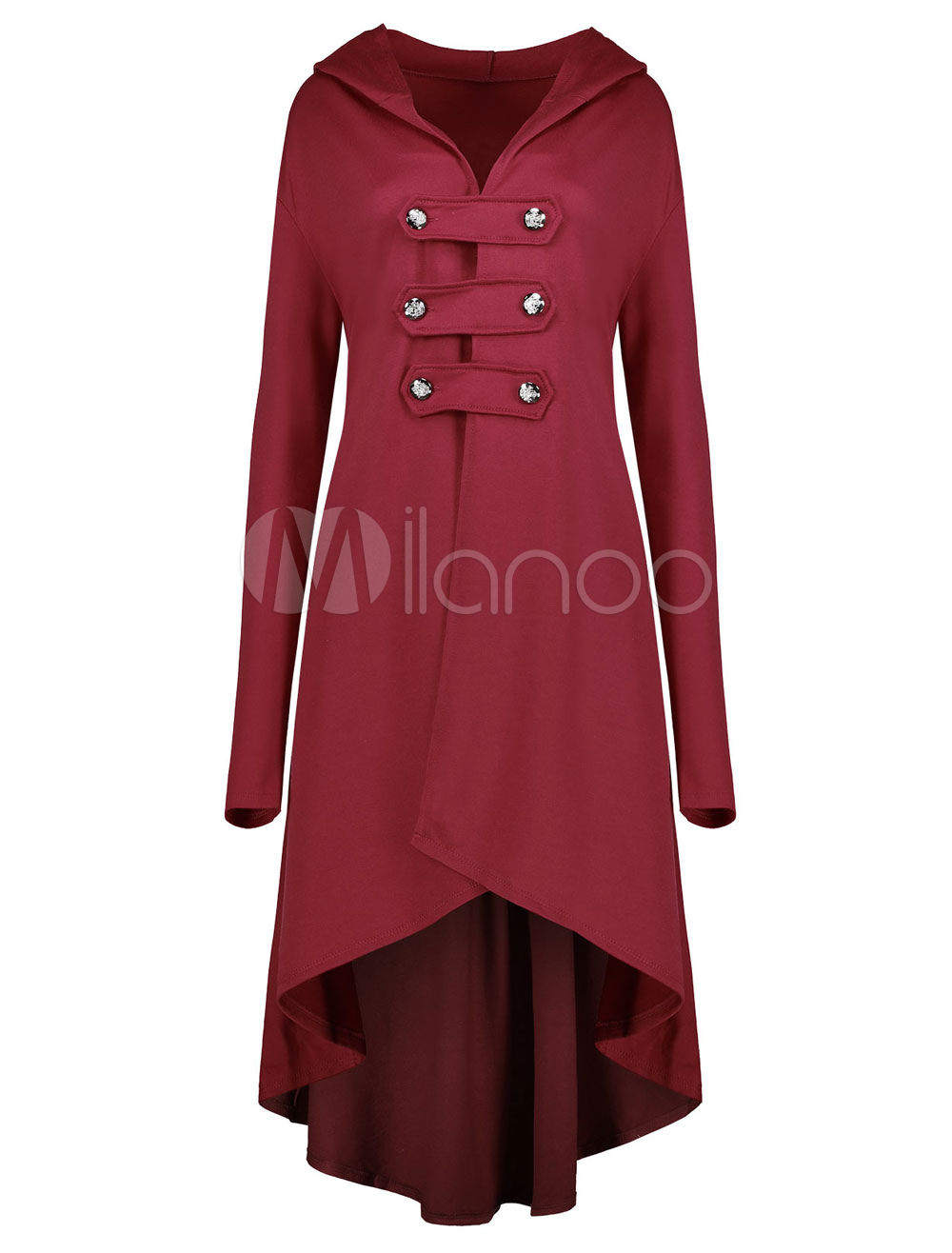 Women Hooded Coat Long Sleeve Burgundy High Low Winter Dress Coats