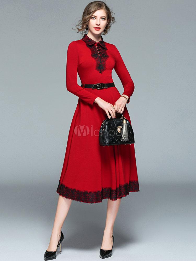 862c0d324d3 Robe longue rouge en coton mélangé moulant avec dentelle col à revers -No.1  ...