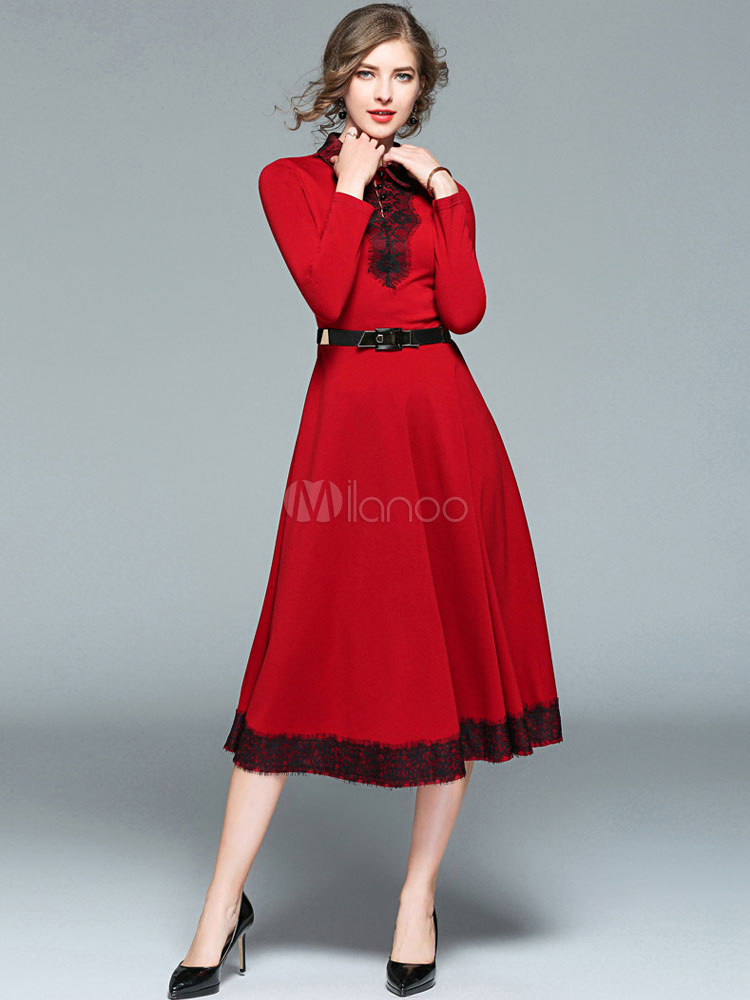 21a4f7f6ffa ... Robe longue rouge en coton mélangé moulant avec dentelle col à revers  -No.4 ...