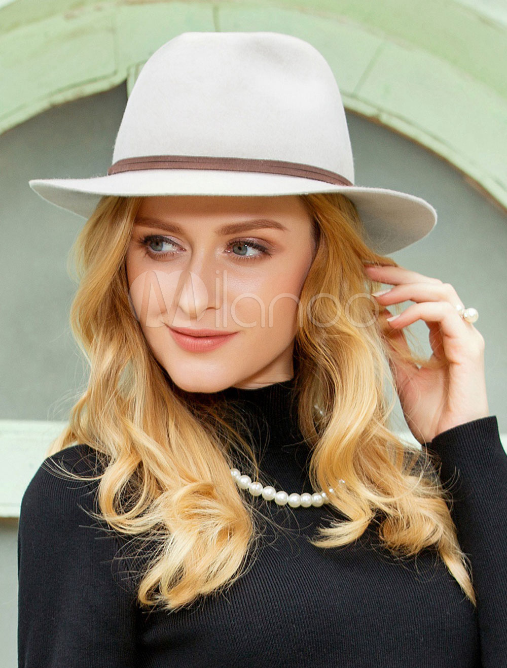 f0b9ad42c Vintage Fedora Hat Wool Light Grey Winter Panama Hats For Women