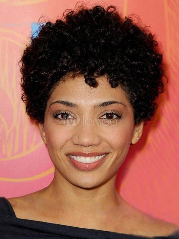 Short Style Wig Women Natural Curlkalon Hair Black Curly African American Wig
