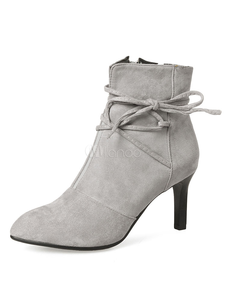 Buy Grey Ankle Boots Women Suede Boots Pointed Toe Lace Up High Heel Booties for $40.49 in Milanoo store