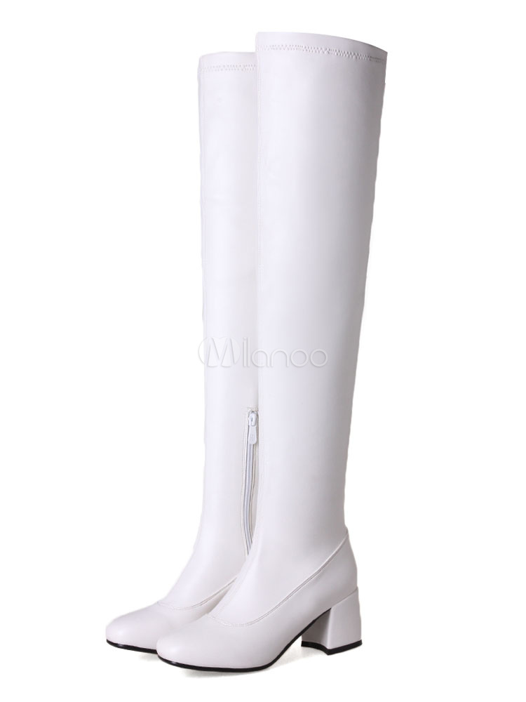 White Over Knee Boots Round Toe Mid Heel Slip On Boots Women Thigh High Boots