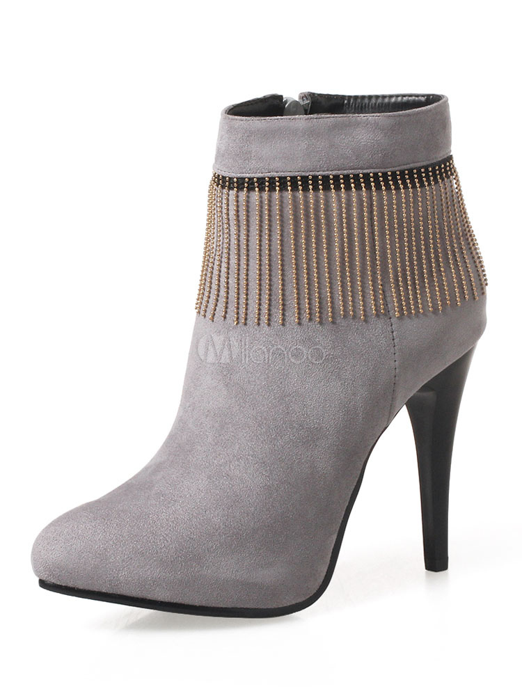 Buy Women Ankle Boots Grey Suede Boots Pointed Toe High Heel Booties With Tassels for $29.99 in Milanoo store