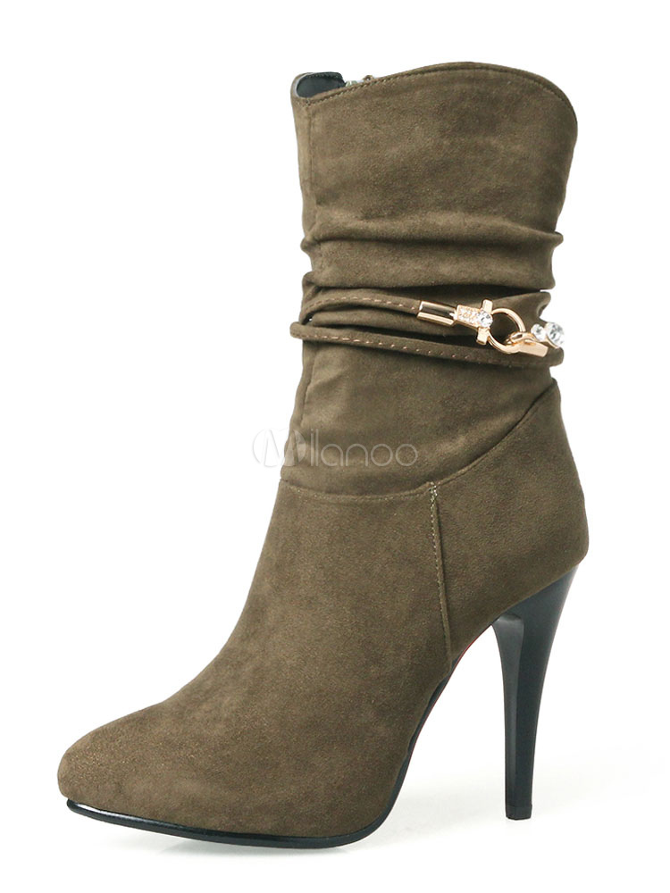 Buy Hunter Green Ankle Boots Women Suede Shoes Pointed Toe Metal Detail Booties for $40.49 in Milanoo store