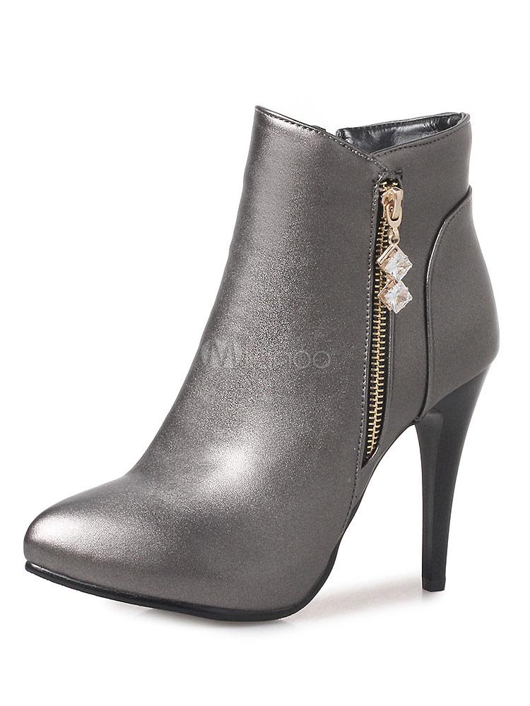 Women Ankle Boots Metallic Rhinestones High Heel Booties Winter Boots