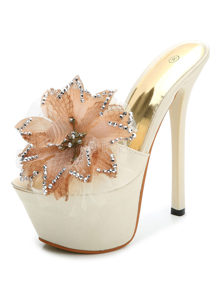Apricot Sandal Slippers Women Sexy Shoes Peep Toe Platform Flowers Beaded Backless High Heel Sandals