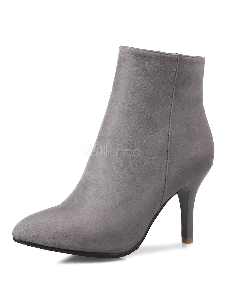 Buy Grey Ankle Boots Women Suede Shoes Pointed Toe High Heel Booties for $41.39 in Milanoo store