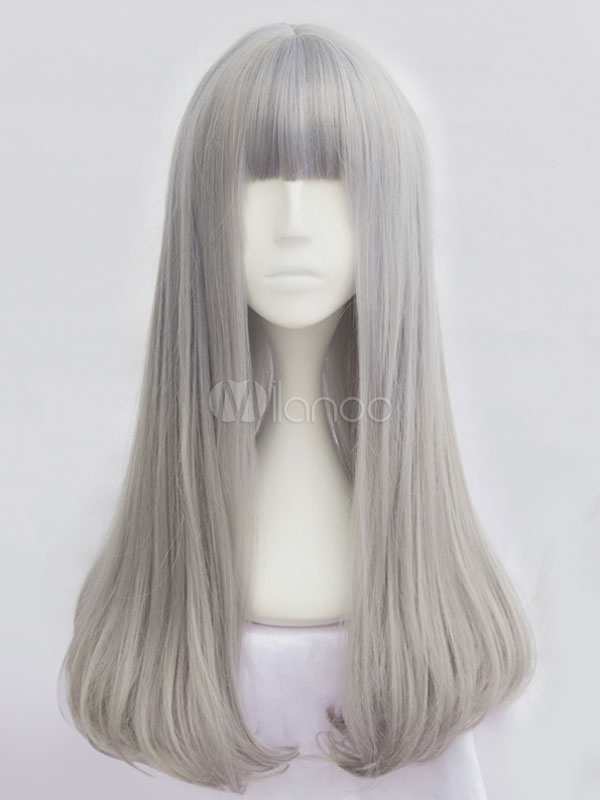 Buy Harajuku Lolita Long Wigs Silver Straight Tousled Layered Lolita Wigs With Bangs for $22.99 in Milanoo store