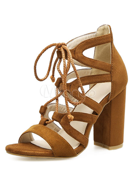 Buy Brown Gladiator Sandals Suede Open Toe Lace Up Ankle Strap Sandals High Heel Sandal Shoes for $34.19 in Milanoo store