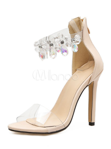 Buy Women Summer Sandal Rhinestone Beading Clear Upper Zipper Stiletto High Heel Open Toe Sandals for $37.99 in Milanoo store