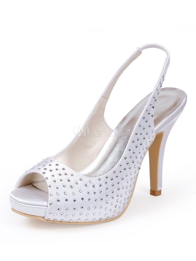 Buy White Wedding Shoes Women Peep Toe Rhinestones Slip On Bridal Shoes High Heel Wedding Guest Shoes for $59.99 in Milanoo store