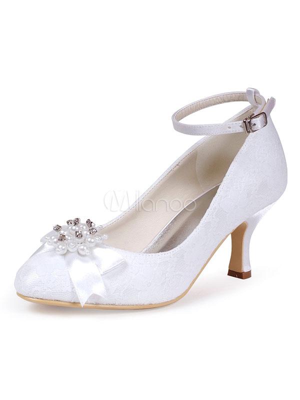 cda8911534ed Vintage Wedding Shoes Round Toe Pearls Rhinestones Ankle Strap Bridal Shoes  Women High Heels-No ...