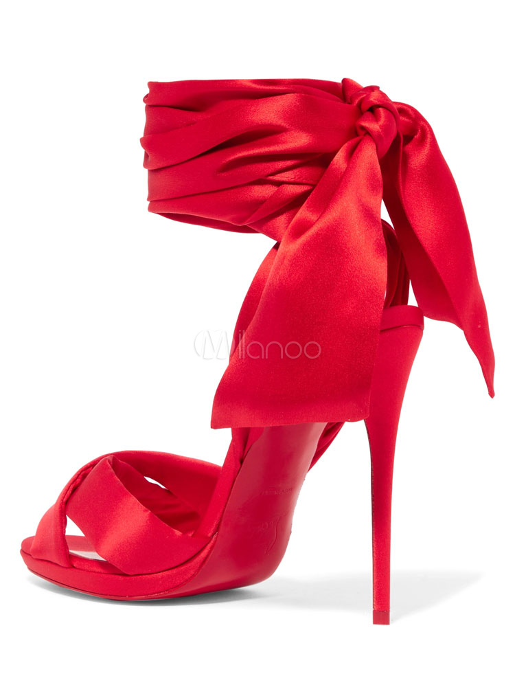 388bcd74658 Red Evening Shoes High Heel Sandals Satin Open Toe Lace Up Dress Shoes-No.