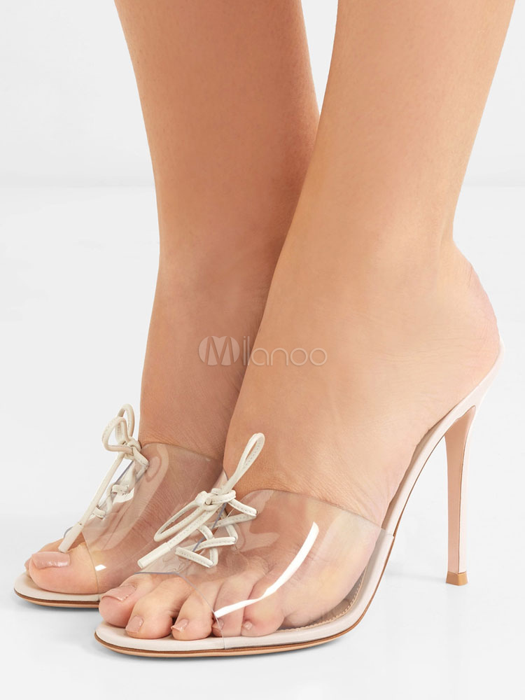 White Summer Sandal Clear Upper Lace Up Stiletto High Heel Women Slipper