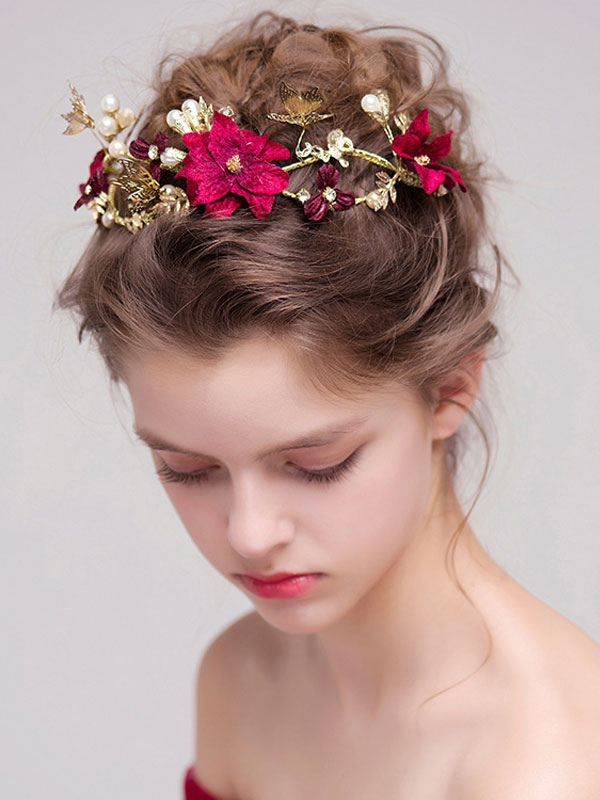 Red Wedding Headband Flower Butterfly Vintage Bridal Hair Piece