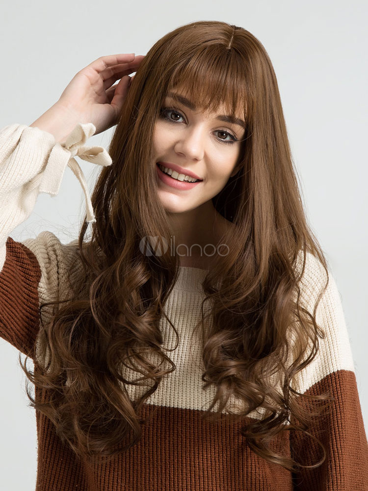 Buy Women Hair Wigs Curly Long Wigs Brown Heat-resistant Fiber Wigs With Wispy Fringes for $22.99 in Milanoo store