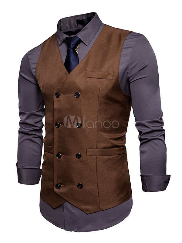 Burgundy Waist Coat Men Vest Jacket V Neck Long Double Breasted Sleeveless Jacket