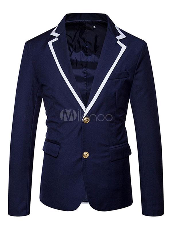 Dark Navy Blazer Men Casual Suit Turndown Collar Long Sleeve Regular Fit Short Jacket