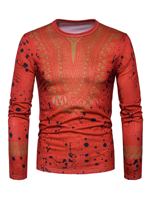 Buy Men T Shirt Long Sleeve Round Neck Printed Cotton Top Orange T Shirt for $22.99 in Milanoo store