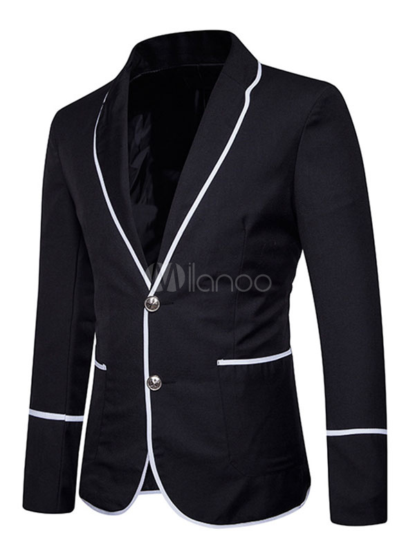 Black Suit Jacket Men Blazer Casual Turndown Collar Long Sleeve Short Jacket