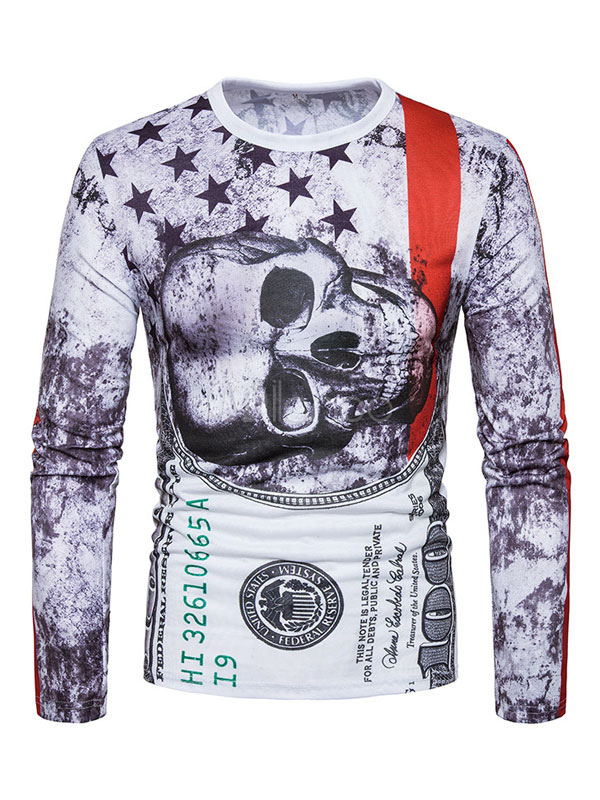 Buy White T Shirt Round Neck Long Sleeve Printed Cotton Top Men T Shirt for $22.99 in Milanoo store